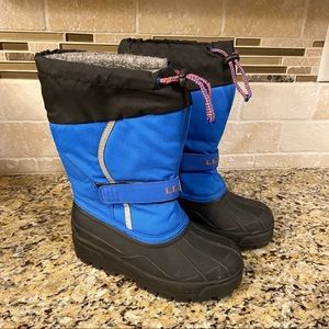 LL Bean Blue Winter Snow Boots Kids size 2 Youth